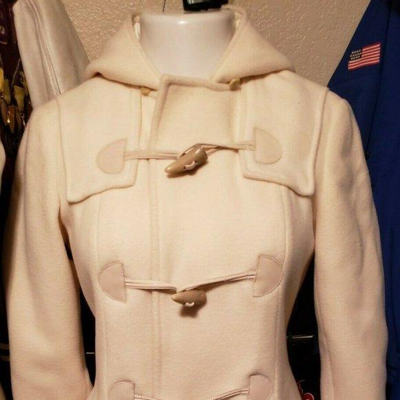 Ralph Lauren Hooded Sweater Coat Bone Suede Toggle